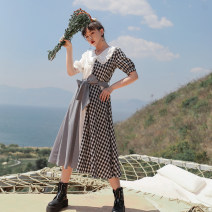 Dress Spring 2021 Asymmetric Plaid stitched skirt (spot), asymmetric Plaid stitched skirt (pre-sale) S,M,L Mid length dress singleton  Short sleeve Sweet Doll Collar High waist lattice Single breasted Big swing puff sleeve Others 18-24 years old Type A