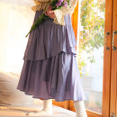 skirt Spring 2021 S,M,L Purple three-tier skirt (in stock), purple three-tier skirt (pre-sale) Mid length dress Sweet High waist Cake skirt Solid color Type A 18-24 years old Ruffles, zippers solar system