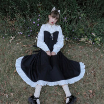 Dress Spring 2021 Black and white heavy industry skirt (spot), black and white heavy industry skirt (pre-sale) S,M,L Mid length dress Fake two pieces Long sleeves Sweet Half high collar High waist Solid color zipper Ruffle Skirt shirt sleeve Others 18-24 years old Type A Lolita