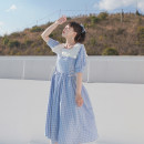 Dress Spring 2021 Blue plaid with white lace skirt (in stock), blue plaid with white lace skirt (pre-sale) S, M Mid length dress singleton  Short sleeve Sweet Admiral High waist lattice zipper Big swing puff sleeve Others 18-24 years old Type A Pleats, lacing, stitching, buttons, zippers, lace