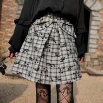 skirt Spring 2021 S, M Butterfly skirt (spot), butterfly skirt (pre-sale) Short skirt Versatile High waist A-line skirt lattice Type A 18-24 years old zipper