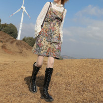 Dress Spring 2021 Fanhua suspender skirt (in stock), Fanhua suspender skirt (pre-sale) S,M,L Short skirt singleton  Sleeveless Sweet square neck High waist Decor zipper A-line skirt other straps 18-24 years old Type X Bow, button