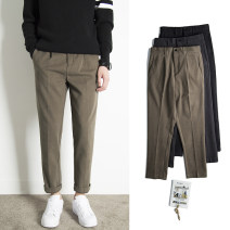 Casual pants Others Youth fashion Black, dark grey, brown, dark green, khaki grey 28,29,30,31,32,33,34,35,36 thick trousers Other leisure easy get shot winter youth tide 2019 middle-waisted Straight cylinder Tapered pants washing Solid color Velveteen polyester fiber polyester fiber