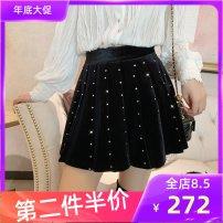 skirt Winter 2020 S,M,L,XL black Short skirt commute High waist A-line skirt Solid color Type A 25-29 years old KINNATTY polyester fiber fold
