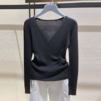 T-shirt Black, purple, white 2 / s, 3 / m, 4 / L, 5 / XL, 6 / XXL Spring 2021 Long sleeves V-neck Self cultivation Regular routine commute other 71% (inclusive) - 85% (inclusive) Simplicity classic Solid color Pretend to be amashizheng 5399265-1T59300-003