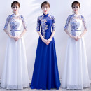 Dress / evening wear Weddings, adulthood parties, company annual meetings, daily appointments S ml XL XXL 3XL tailor made XXXXL White stand collar big red stand collar sapphire blue stand collar sky blue stand collar white V collar red V collar precious blue V collar sky blue V collar Korean version