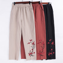 Middle aged and old women's wear Summer 2020 Orange, black, khaki XL (recommendations 90-115), 2XL (recommendations 115-130), 3XL (recommendations 130-150), 4XL (recommendations 150-170) ethnic style trousers Straight cylinder singleton  Decor 50-59 years old thin Independent brand Cotton and hemp