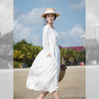 Dress Spring 2021 Ginger yellow, pure white XS,S,M longuette singleton  three quarter sleeve Sweet Crew neck High waist Solid color Socket Big swing routine Others Type A Embroidery, pocket More than 95% other cotton Mori
