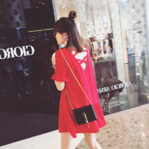 Dress Summer 2020 Red, black S,M,L,XL Middle-skirt singleton  Short sleeve commute Crew neck Loose waist Solid color Socket Irregular skirt Sleeve Others 18-24 years old Other / other Korean version Lotus leaf edge xsn0013