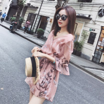 Casual pants Skin pink S,M,L Summer 2020 shorts Jumpsuit High waist commute Thin money 18-24 years old 71% (inclusive) - 80% (inclusive) Cotton blended fabric Korean version printing and dyeing acrylic fibres