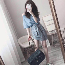 Dress Summer of 2019 S,M,L,XL Short skirt Two piece set commute High waist Solid color Irregular skirt 18-24 years old Type H Simplicity Lace up, asymmetric, strap 31% (inclusive) - 50% (inclusive)