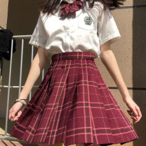 skirt Summer 2021 Short skirt 31% (inclusive) - 50% (inclusive) High waist polyester fiber A-line skirt commute lattice Other / other 18-24 years old Type A Silk and satin literature XS,S,M,L,XL,2XL