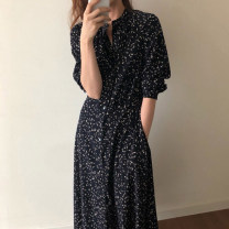 Women's large Spring 2020 Black single breasted Floral Dress S M L XL XXL XXXL Dress singleton  commute Self cultivation moderate Socket Long sleeves Broken flowers Korean version V-neck polyester fold routine 0001459963137ts Zhifan 18-24 years old Resin fixation 96% and above longuette other