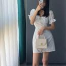 Women's large Summer 2020 white S M L XL singleton  commute Short sleeve Solid color Korean version square neck other puff sleeve Yinlizi 18-24 years old 71% (inclusive) - 80% (inclusive) Polyester 80% other 20% Pure e-commerce (online only)