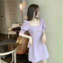 Women's large Spring 2020 Purple black S M L XL Two piece set commute Short sleeve Solid color Korean version Crew neck other routine Yinlizi 18-24 years old 71% (inclusive) - 80% (inclusive) Polyester 80% other 20% Pure e-commerce (online only)
