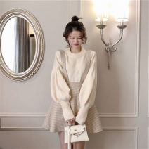 Women's large Autumn 2020 Apricot sweater + cream apricot strap skirt light fog powder sweater + cream powder strap skirt S M L XL Two piece set commute Korean version DNX1667 Yinlizi 18-24 years old Other 100% Pure e-commerce (online only)