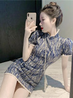 Women's large Summer 2020 Blue pattern S M L Dress singleton  commute Korean version XG60187 Yinlizi 18-24 years old Other 100% Pure e-commerce (online only)