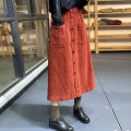 skirt Winter 2020 Average size Red, black, coffee Mid length dress Retro High waist A-line skirt Solid color Type A SN6851 More than 95% corduroy cotton Button