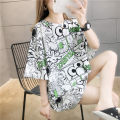 Women's large Summer 2020 White color M L XL T-shirt singleton  commute easy moderate Socket Short sleeve Korean version Crew neck Medium length printing and dyeing routine He Baiguan 18-24 years old 96% and above Polyester 95% polyurethane elastic fiber (spandex) 5% Exclusive payment of tmall