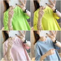 T-shirt Blue black white yellow fluorescent green pink M L XL XXL Summer 2020 Short sleeve Crew neck easy Medium length routine commute polyester fiber 86% (inclusive) -95% (inclusive) 18-24 years old Korean version youth He Baiguan 7306-3 Polyester 95% polyurethane elastic fiber (spandex) 5%