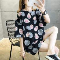 Women's large Summer 2020 Avocado Green Black White M L XL T-shirt singleton  commute easy moderate Socket Short sleeve Korean version Crew neck Medium length printing and dyeing routine He Baiguan 18-24 years old 96% and above Polyester 95% polyurethane elastic fiber (spandex) 5%