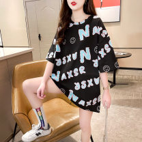 T-shirt Black blue M L XL Summer 2021 Short sleeve Crew neck easy Medium length routine commute polyester fiber 86% (inclusive) -95% (inclusive) 18-24 years old Korean version youth He Baiguan 2834-1 Polyester 95% polyurethane elastic fiber (spandex) 5% Pure e-commerce (online only)