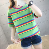 T-shirt Avocado Green Blue White M L XL XXL Spring 2020 Short sleeve Crew neck easy Regular routine commute polyester fiber 86% (inclusive) -95% (inclusive) 18-24 years old Korean version youth He Baiguan Polyester 95% polyurethane elastic fiber (spandex) 5% Exclusive payment of tmall