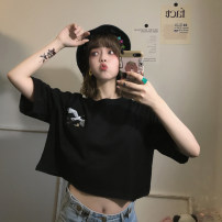 T-shirt Avocado Green Black White Blue M L XL Summer 2020 Short sleeve Crew neck easy have cash less than that is registered in the accounts routine commute polyester fiber 86% (inclusive) -95% (inclusive) 18-24 years old Korean version youth He Baiguan 3120-2 Exclusive payment of tmall