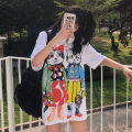 T-shirt white M L XL Summer of 2019 Short sleeve Crew neck easy Regular routine commute polyester fiber 86% (inclusive) -95% (inclusive) 18-24 years old Korean version youth Cartoon Anime animal pattern alphanumeric facial makeup solid color mosaic gradient He Baiguan 1332-3 3D printing stitching