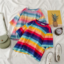 T-shirt 18-24 years old 3116 polyester fiber 86% (inclusive) - 95% (inclusive) Short sleeve Summer of 2019 have cash less than that is registered in the accounts Crew neck easy routine commute Polyester 95% polyurethane elastic fiber (spandex) 5% He Baiguan youth Korean version M L XL