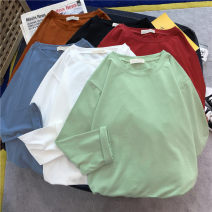 T-shirt White pink Avocado Green Blue Yellow Black Red mint green cowboy Blue Coffee M L XL XXL Autumn of 2019 Long sleeves Crew neck easy Regular routine commute polyester fiber 86% (inclusive) -95% (inclusive) 18-24 years old Korean version youth He Baiguan 3352-10 Exclusive payment of tmall