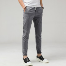 Casual pants Longbenton Fashion City Khaki medium grey light grey black 28 29 30 31 32 33 34 36 38 thin trousers Other leisure Self cultivation Micro bomb QSL19A29999_ K3MjA summer youth Basic public 2019 middle-waisted Little feet Cotton 100% Pocket decoration washing Solid color plain cloth cotton