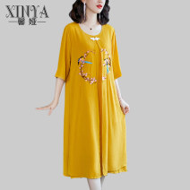 Dress Spring 2021 Yellow light blue 160/M 165/L 170/XL 175/2XL 180/3XL Mid length dress Fake two pieces three quarter sleeve commute Crew neck Loose waist Solid color zipper A-line skirt routine Others 35-39 years old Type A Xinya Korean version Embroidery XY7011A# 30% and below other other