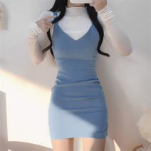 Dress Spring 2021 blue S,M,L Short skirt singleton  Sleeveless Sweet V-neck High waist Solid color Socket One pace skirt routine camisole 18-24 years old Type A Splicing WY8466W0J 91% (inclusive) - 95% (inclusive) knitting polyester fiber college