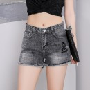 Jeans Summer 2021 Black grey 25,26,27,28,29,30,31 shorts Natural waist Straight pants Thin money 25-29 years old Worn, worn, washed, embroidered, polished, patterned light colour
