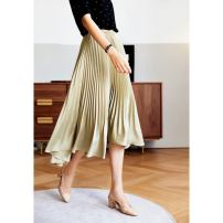 skirt Spring 2021 S M L XL Khaki black Mid length dress commute High waist Pleated skirt Solid color Type A 25-29 years old W26Q16028 71% (inclusive) - 80% (inclusive) Han xidie Cellulose acetate Pleated three dimensional decoration Korean version Pure e-commerce (online only)