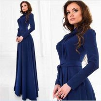 Dress Fall 2017 Picture color S,M,L,XL longuette Long sleeves street High waist Solid color Other Frenulum cq-1022 31% (inclusive) - 50% (inclusive) cotton Europe and America