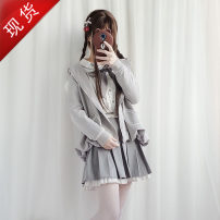 Dress Spring 2020 Coat + shirt + skirt (for tail), shirt + skirt + socks, coat + shirt + skirt + socks (for tail), single (coat) M,S,L,XL Middle-skirt Two piece set Long sleeves Sweet middle-waisted A button Pleated skirt 18-24 years old Type A brocade Lolita