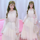 Dress Spring 2020 Apricot, pink M, L longuette singleton  Long sleeves Sweet Crew neck middle-waisted Solid color Socket Princess Dress routine Others 18-24 years old Type X Other / other Splicing C20 51% (inclusive) - 70% (inclusive) other other princess