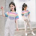 suit Basil bean Dark short T + shorts light short T + shorts dark short T + Capris light short T + Capris female summer leisure time Short sleeve + pants 2 pieces Thin money There are models in the real shooting Socket nothing stripe cotton children Learning reward Class B Summer 2021 Taizhou City