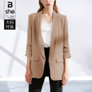 Women's large Spring 2021 khaki Large L Large XL Large 2XL large 3XL large 4XL large 5XL suit singleton  street Self cultivation moderate Cardigan three quarter sleeve Solid color other routine polyester fiber Three dimensional cutting routine bx5352 Binghan clothing house 35-39 years old pocket