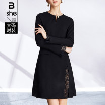 Women's large Spring 2021 black Large L Large XL Large 2XL large 3XL large 4XL large 5XL Dress singleton  street Self cultivation moderate Socket Long sleeves Solid color others Crew neck Wool polyester acrylic nylon Three dimensional cutting routine bq3445 Binghan clothing house 35-39 years old