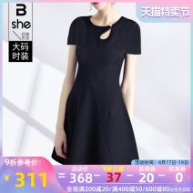 Women's large Summer 2021 black Large L Large XL Large 2XL large 3XL large 4XL large 5XL Dress singleton  street Straight cylinder moderate Socket Short sleeve Solid color Crew neck polyester Three dimensional cutting routine bx2331 Binghan clothing house 35-39 years old Middle-skirt