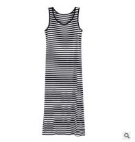 Dress Summer of 2018 Black, black and white stripes M,L,XL Middle-skirt other Sleeveless Crew neck other other other other Others LT001 brocade other