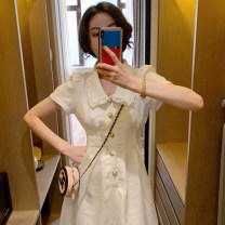 Dress Summer 2021 white S M L XL Mid length dress singleton  Short sleeve commute Polo collar High waist Solid color Socket other routine Others 25-29 years old Type A UFP Korean version Button U22532F-DY More than 95% other Other 100% Pure e-commerce (online only)
