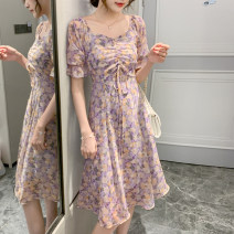 Dress Summer 2021 Purple green S M L Middle-skirt singleton  Short sleeve commute square neck High waist Broken flowers Socket A-line skirt puff sleeve Others 25-29 years old Type A UFP Korean version printing U22550F-DY More than 95% other Other 100% Pure e-commerce (online only)