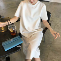 Dress Summer 2021 White black S M L XL Mid length dress singleton  Short sleeve commute Crew neck Loose waist Solid color Socket A-line skirt routine Others 25-29 years old Type H UFP Korean version U22289F More than 95% other Other 100% Pure e-commerce (online only)