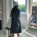 Dress Summer 2021 Orange haze blue M L XL Mid length dress singleton  Short sleeve commute Crew neck Loose waist letter Socket routine Others 25-29 years old Type A UFP Korean version More than 95% other Other 100% Pure e-commerce (online only)