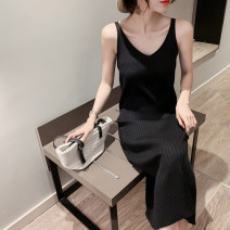 Dress Spring 2021 Apricot coffee Khaki black white S M L XL Mid length dress singleton  Sleeveless commute V-neck Elastic waist Solid color Socket One pace skirt other camisole 25-29 years old Type H UFP Korean version U22303F More than 95% other Other 100% Pure e-commerce (online only)