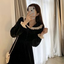 Dress Autumn 2020 Black dress S M L XL Mid length dress singleton  Long sleeves commute V-neck High waist Solid color Ruffle Skirt routine Others 18-24 years old Geessoew / geese Korean version 3020 spot More than 95% other other Other 100% Pure e-commerce (online only)